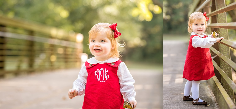 2 year old girl on bridge at Tanyard Creek Park