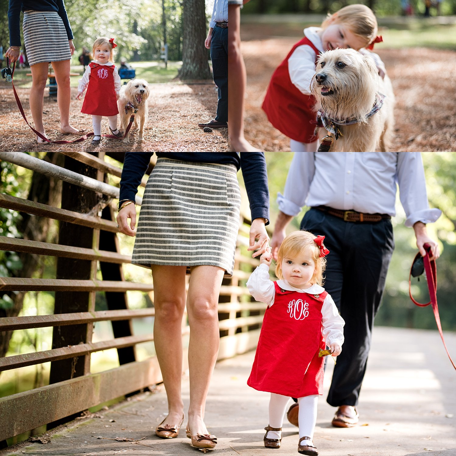 2 year old girl in red monogrammed dress with dog