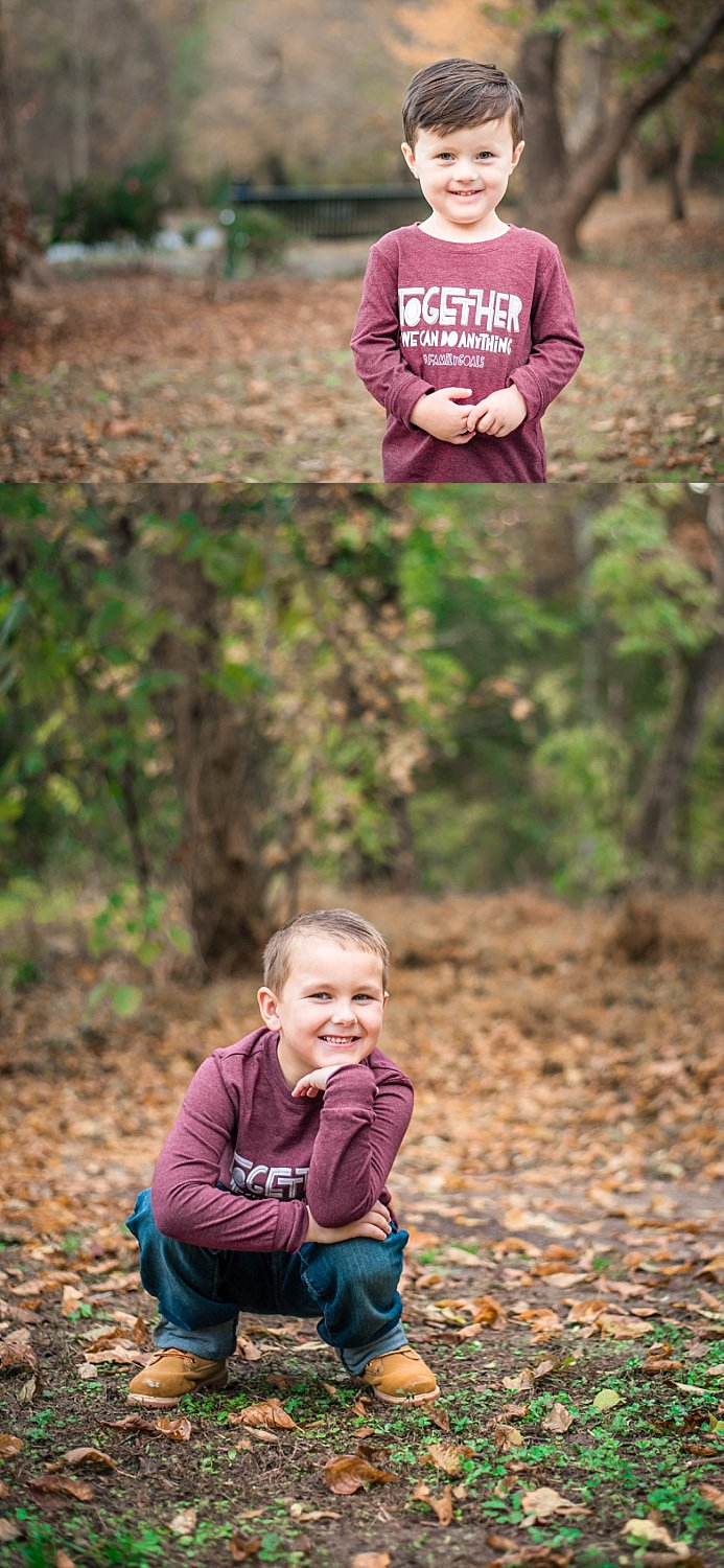 portraits of boys in fall leaves at East Cobb Park