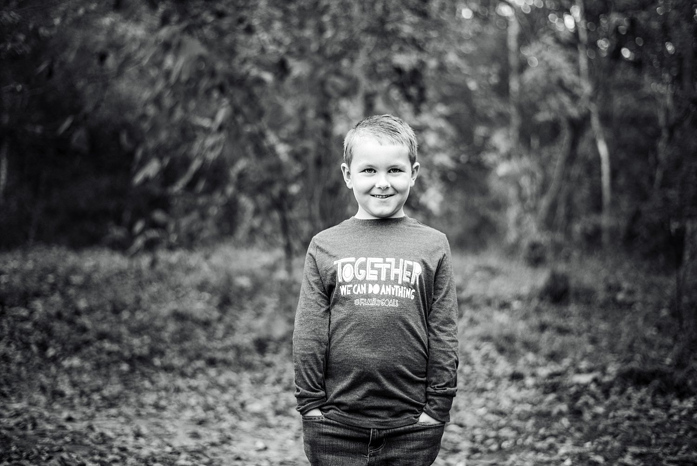 black and white portrait of boy