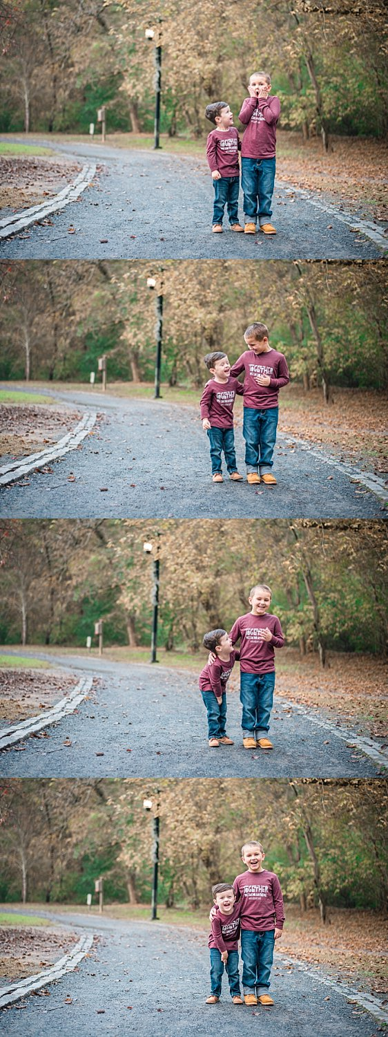brothers laughing on path in East Cobb Park
