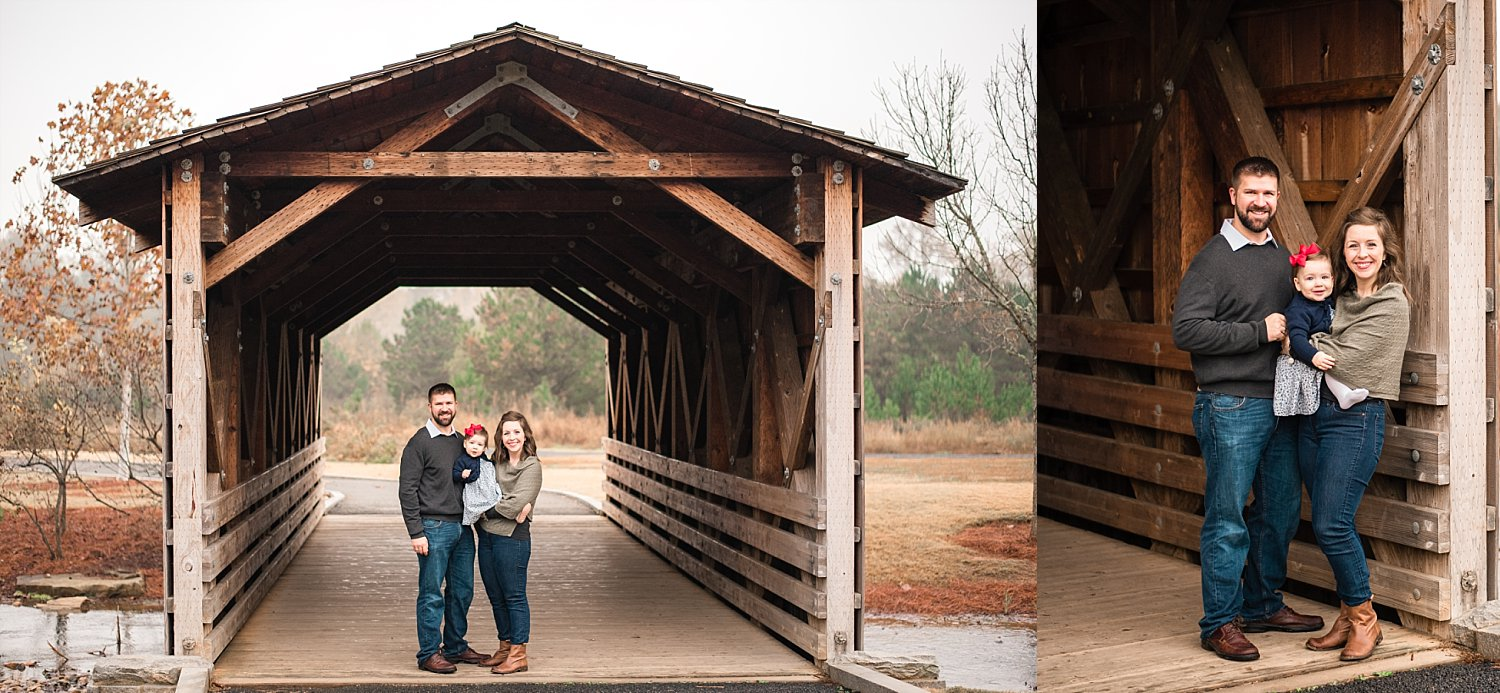 Family of 3 under covered bridge Garrard Landing Park