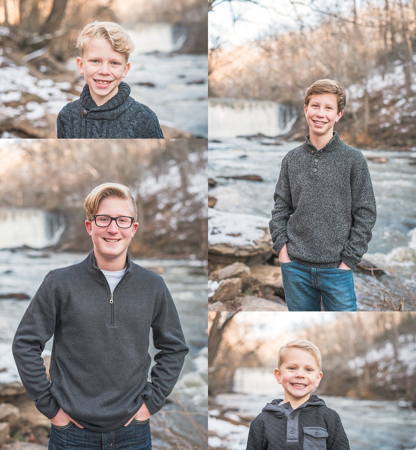 Collage of 4 brothers standing at Roswell Mill Waterfall Georgia