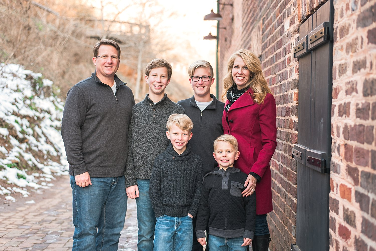 Family photo in front of Roswell Mill Ruins