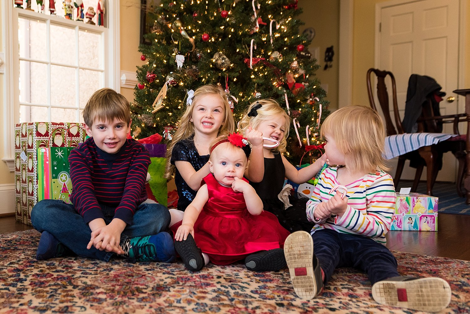 6 grandkids sitting in front of Christmas tree