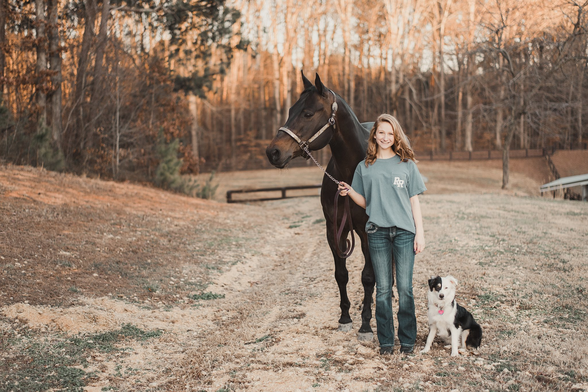 senior girl with horse and puppy