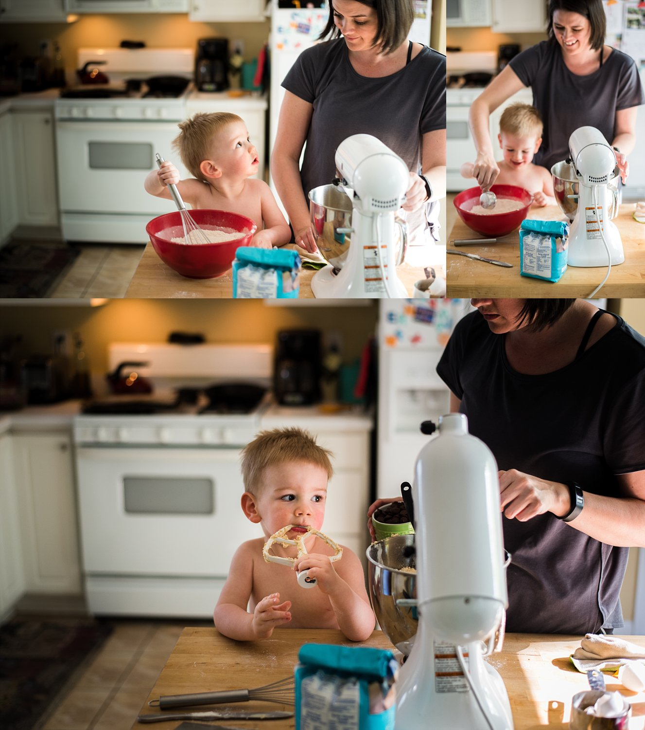 I set up and handed my camera over to my husband to capture these sweet moments of me baking with my son last summer. I will cherish these FOREVER!