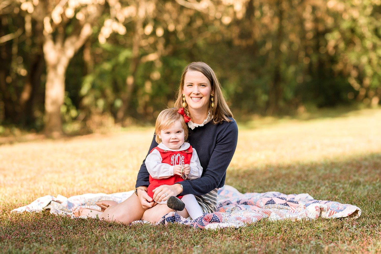 mom & daughter on blanket at Tanyard Creek PArk, Atlanta, GA