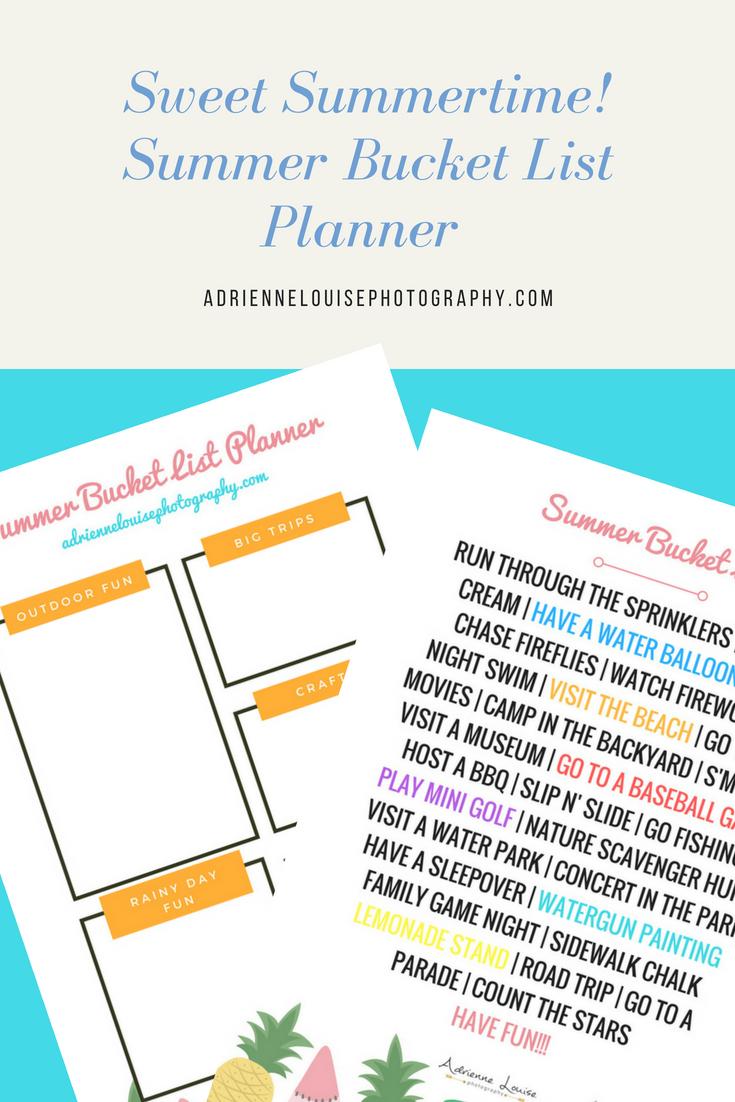 | Summer Bucket List Planner | adriennelouisephotography.com