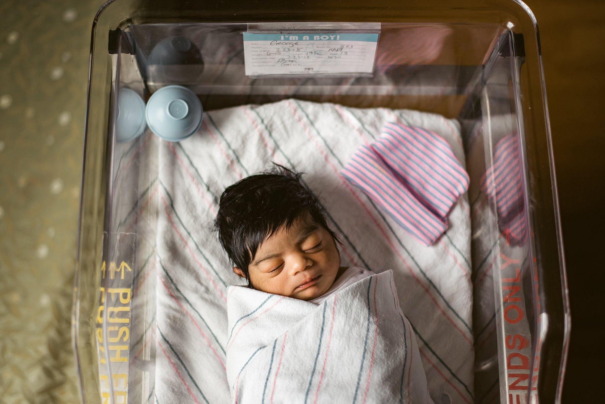 Newborn Baby Boy in hospital bassinet at Northside Atlanta Hospital