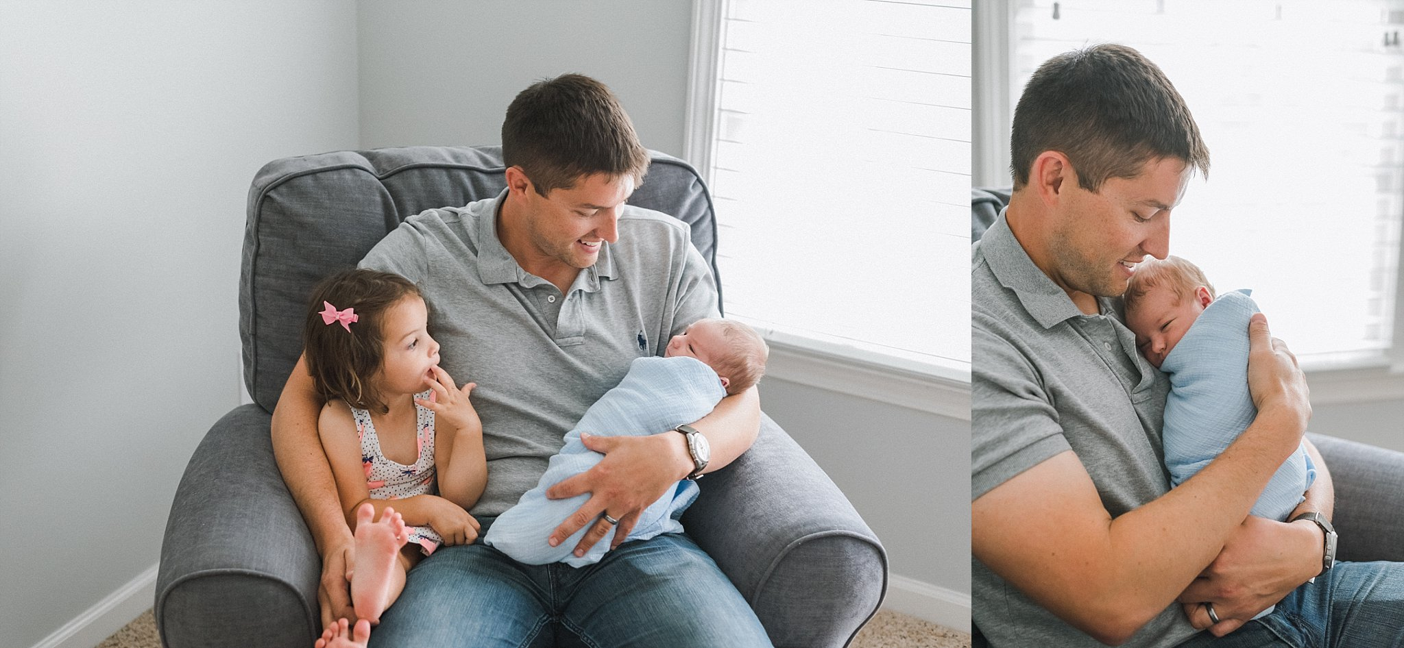 father holding newborn and sitting in chair with toddler daughter
