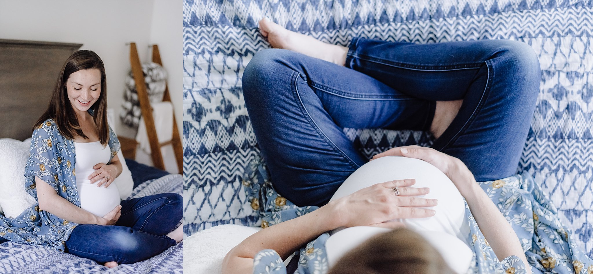 Portraits of pregnant mother at in-home maternity session