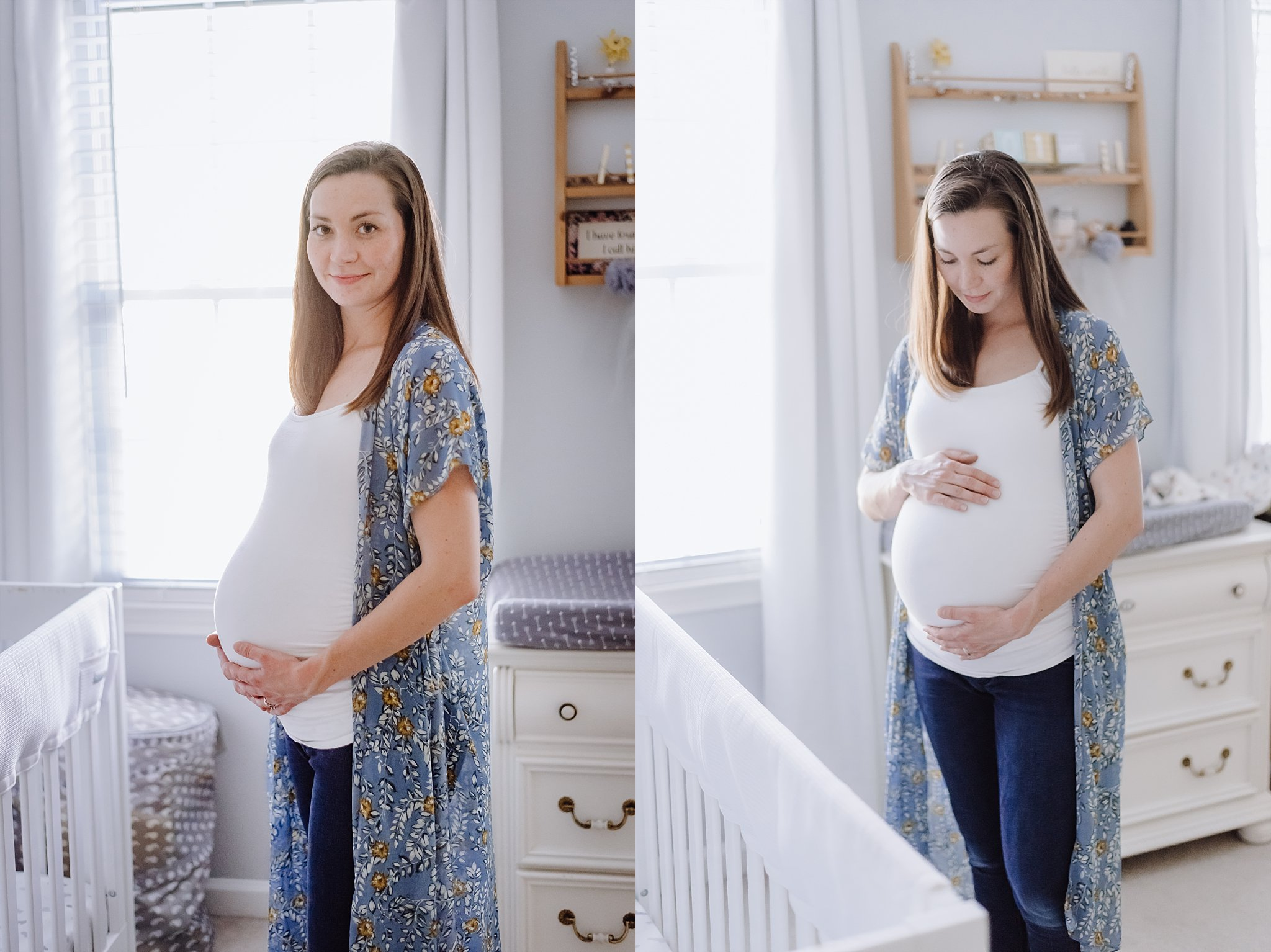 portraits of pregnant mother in nursery at in-home maternity session