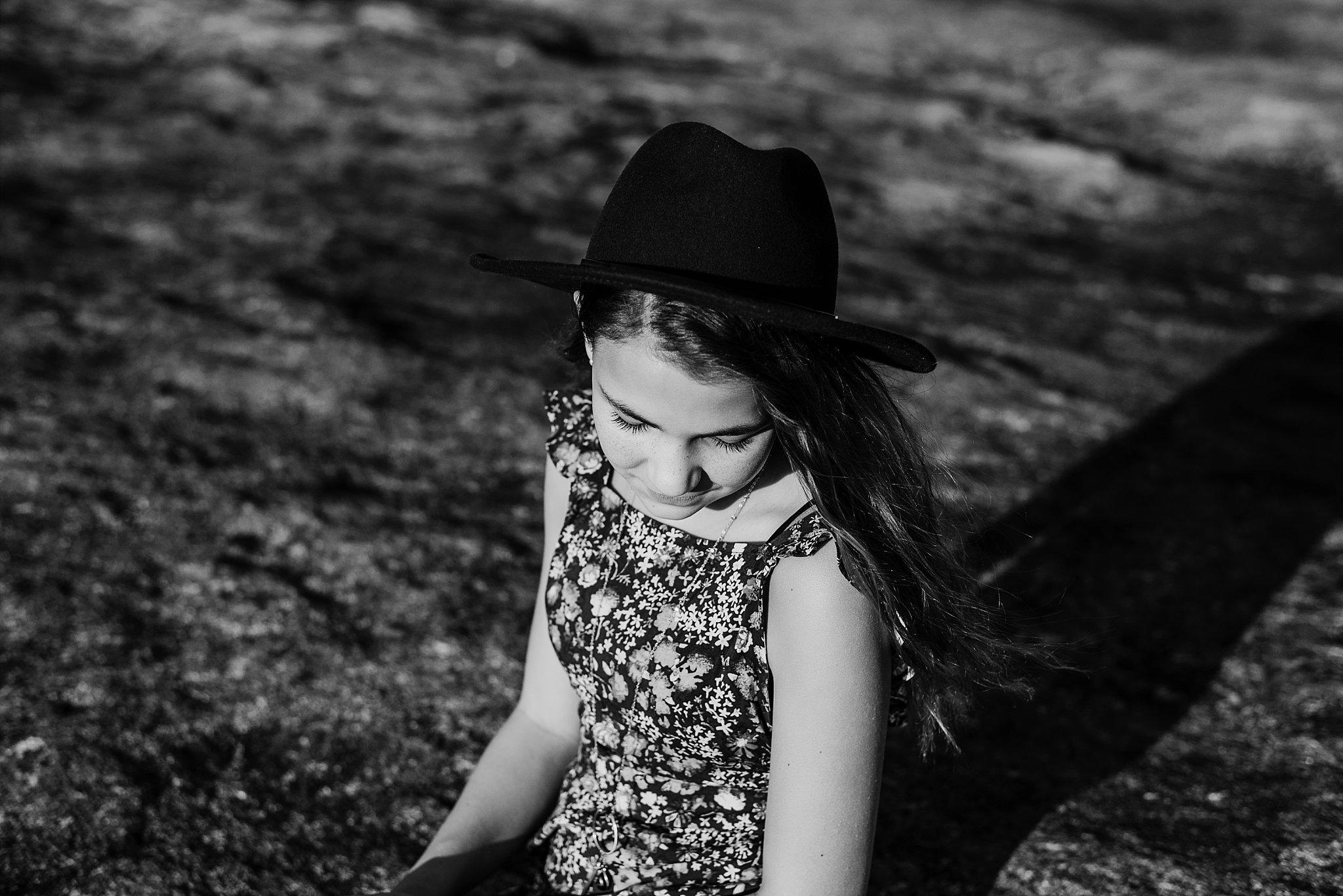 black and white image of girl Arabia Mountain Atlanta