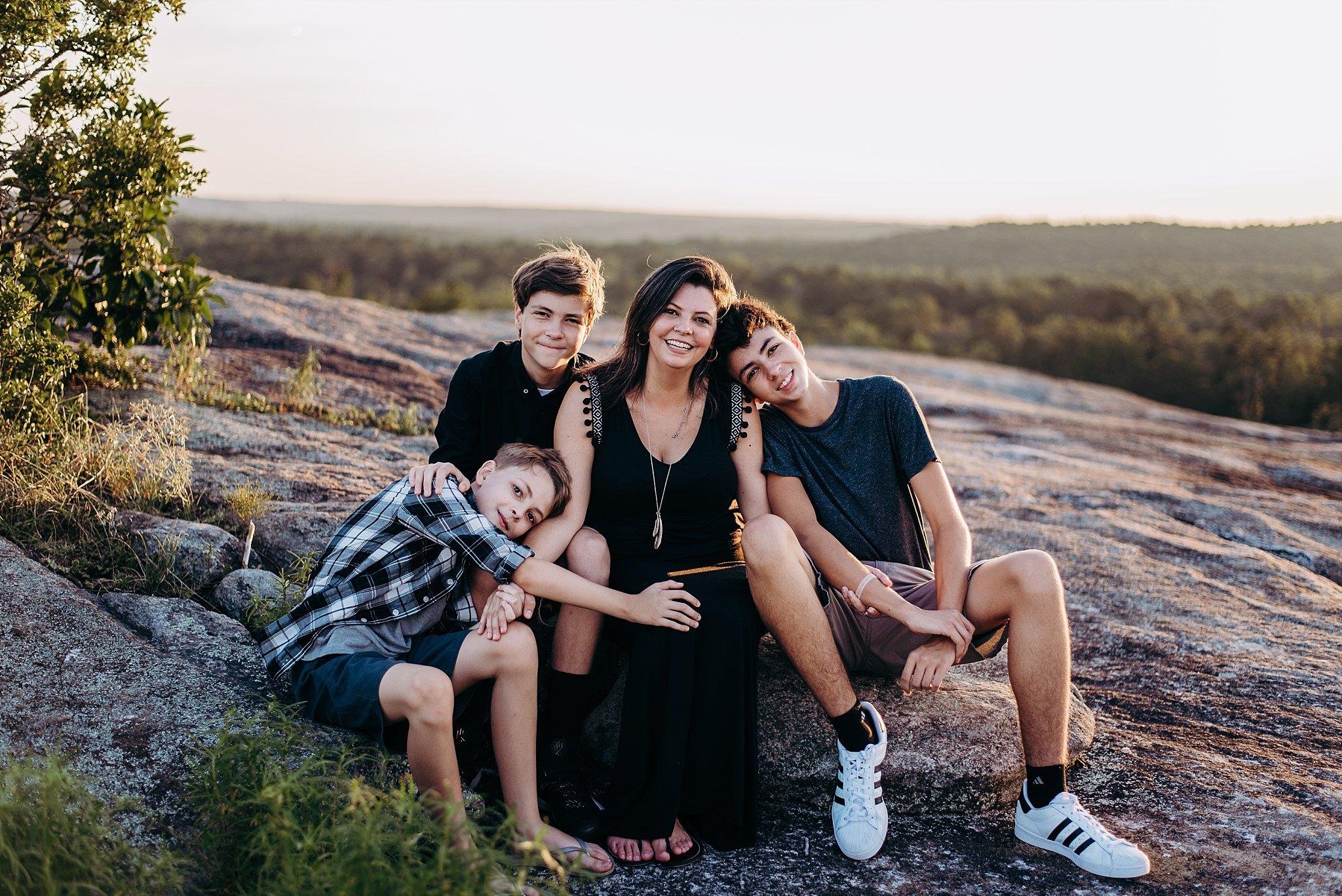 mother and sons Arabia Mountain Atlanta