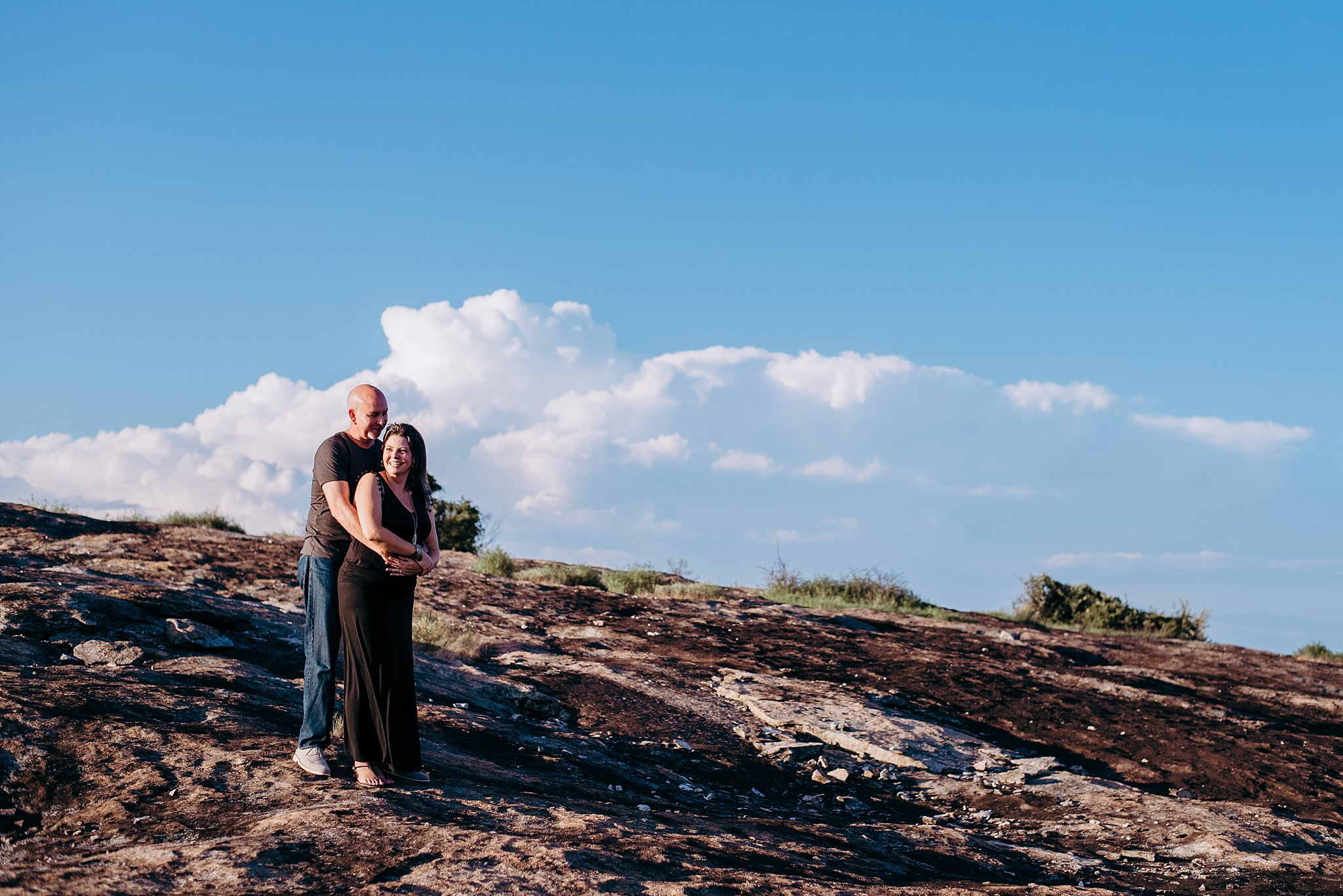Couple on side of Arabia Mountain Atlanta