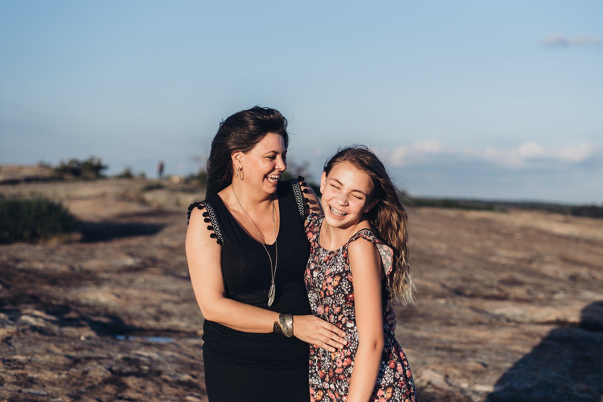 mother and daughter laughing at Arabia Mountain Atlanta