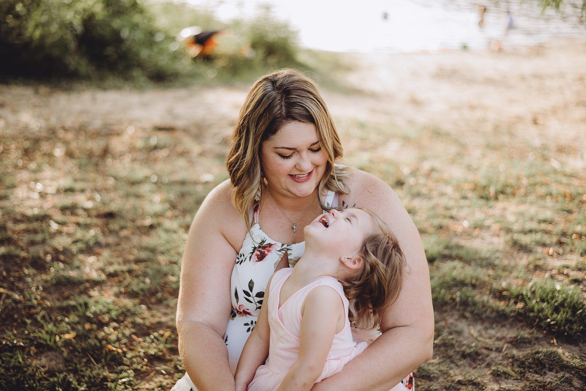 toddler girl laughing at mom Cauble Park Lake Acworth