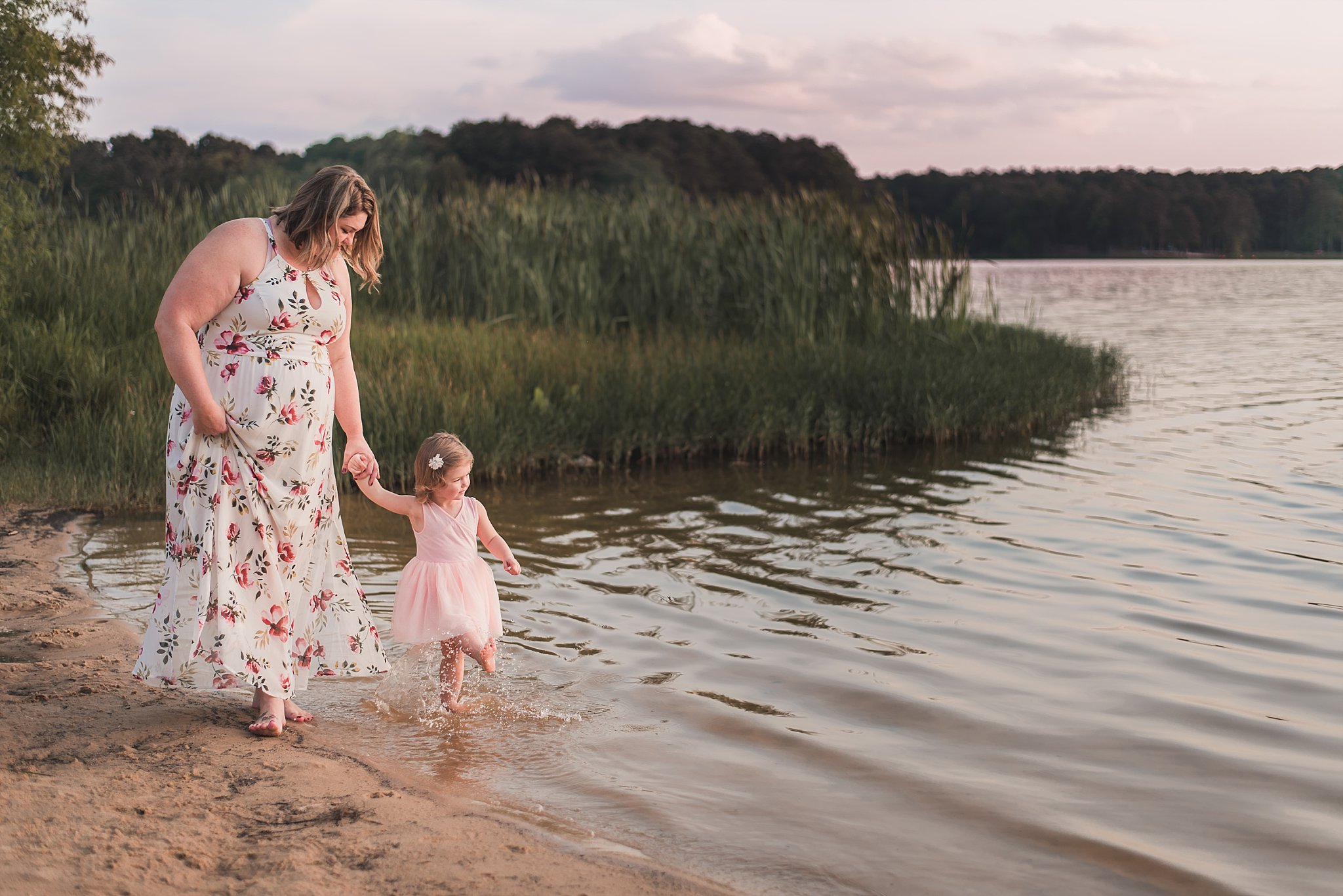mother and daughter walking on beach Cauble Park Lake Acworth