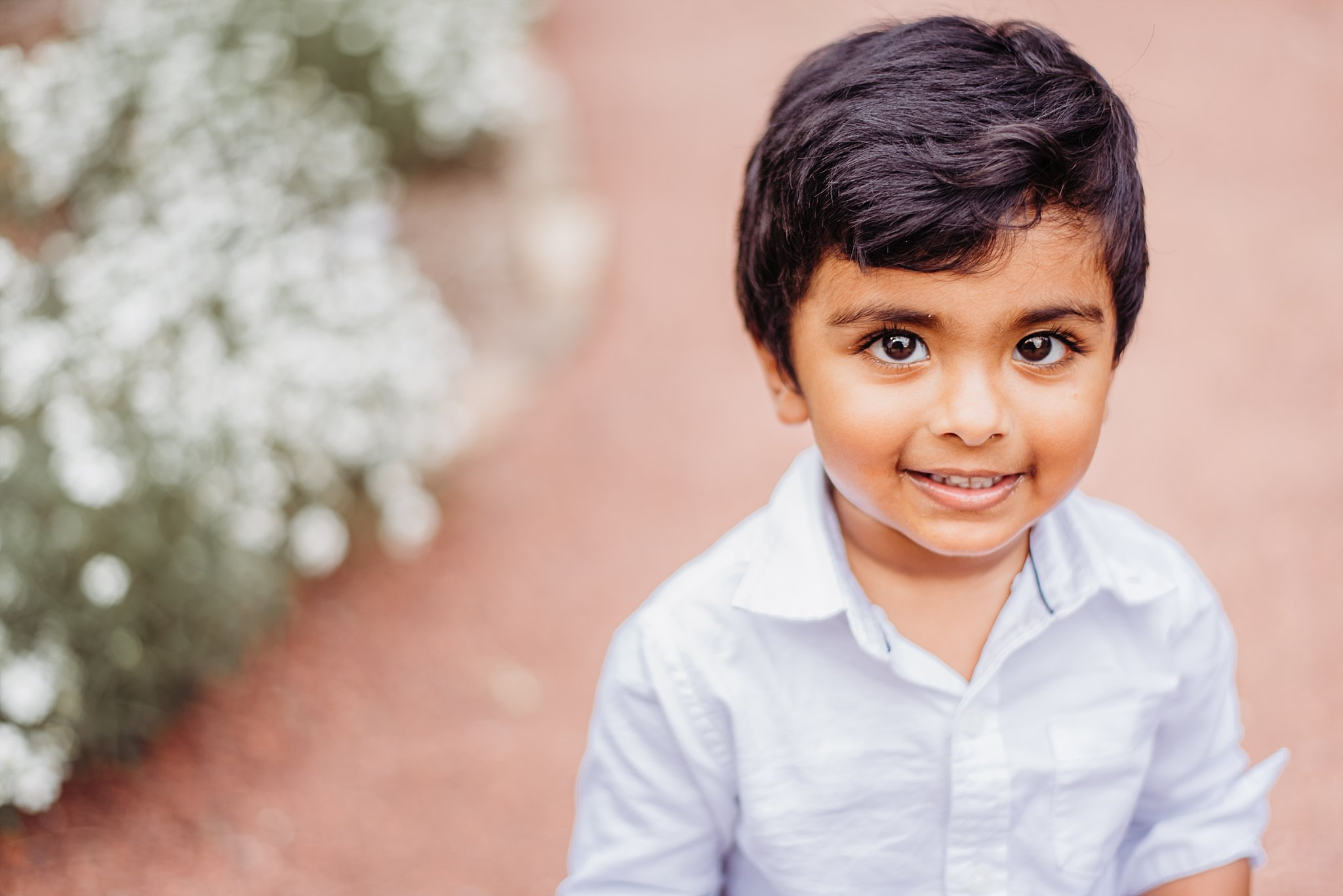 toddler boy at gardens at Barrington Hall