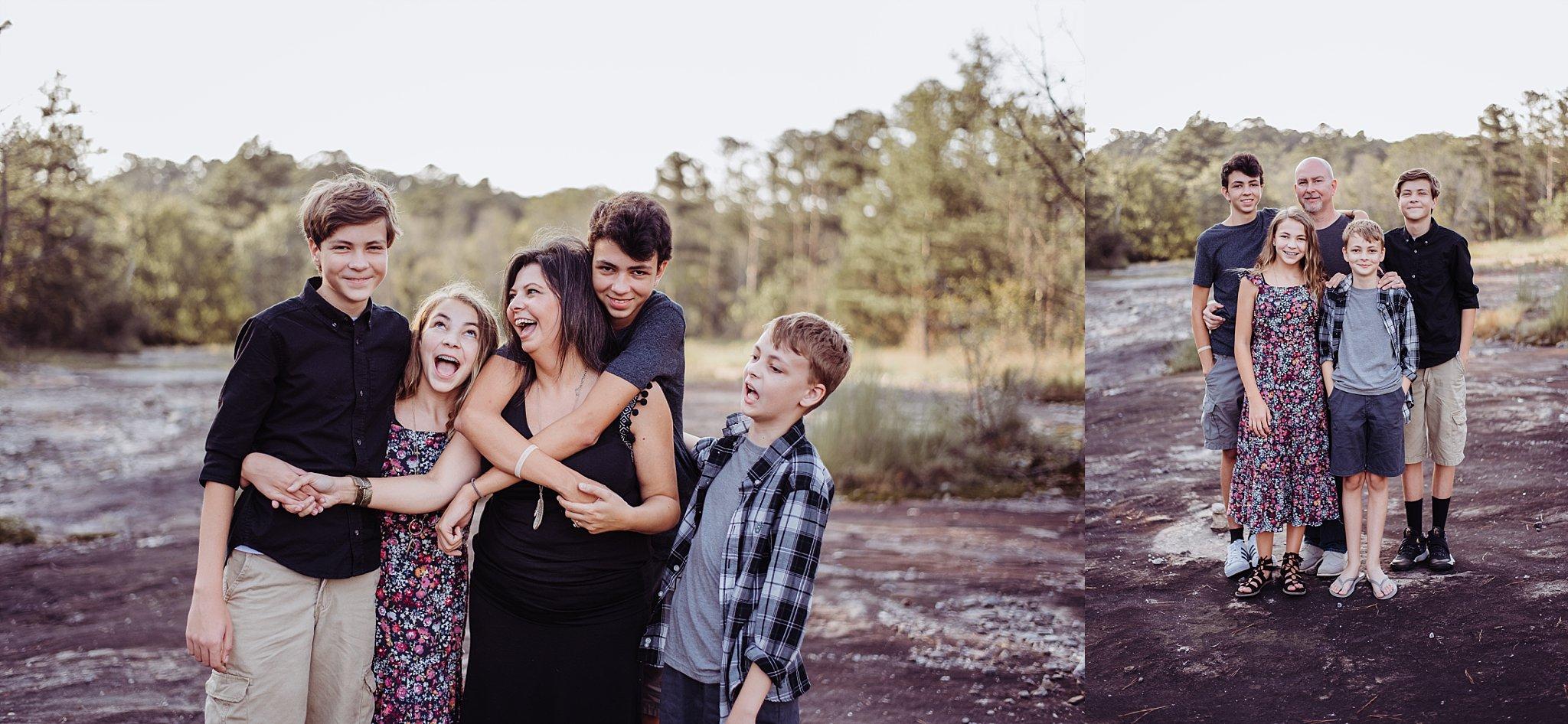 Family of 6 laughing at Arabia Mountain Atlanta GA