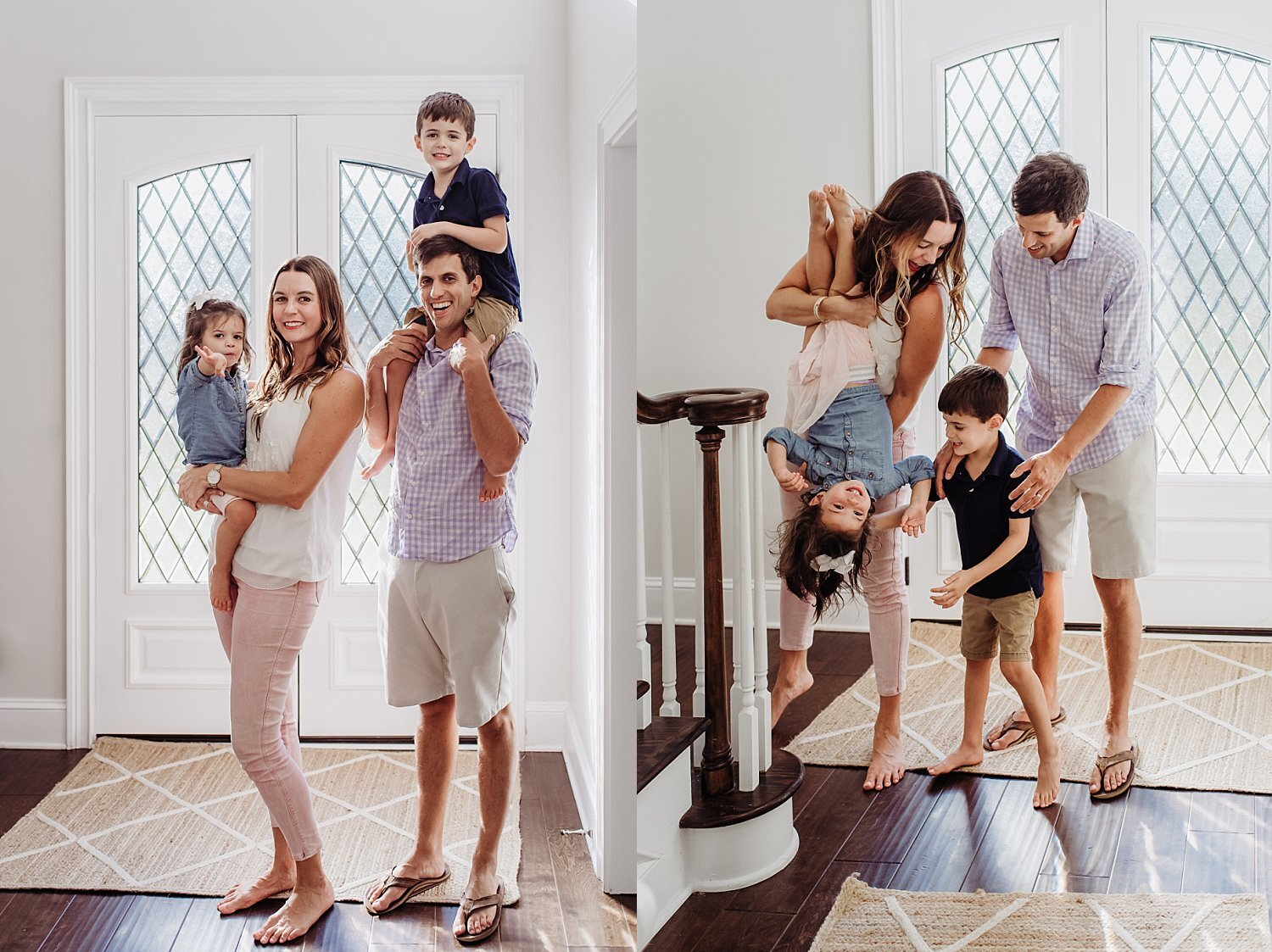family playing in foyer in-home lifestyle session Roswell, GA