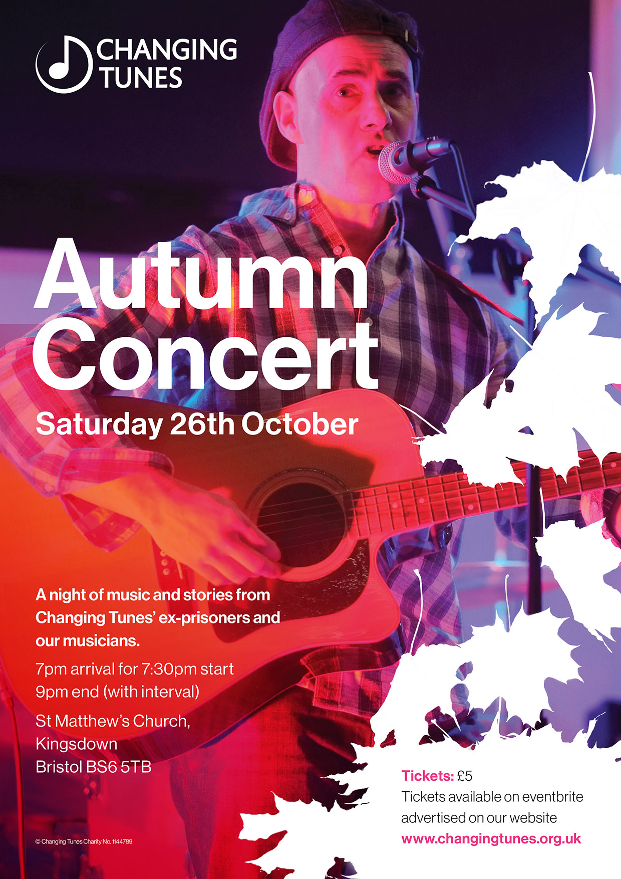Autumn Concert - Saturday 26th October, 7.30pm St Matthew's Church, Bristol, BS6 5TBClick the link below to book your tickets!Changing Tunes presents an evening of live music, performed by ex-prisoners and our Musicians in Residence, demonstrating our transforming work in prison and in the local community.Whether you are new to Changing Tunes, or you have been a supporter for years, this concert promises an inspiring evening with a hopeful message.Book your £5 tickets here:https://www.eventbrite.co.uk/e/changing-tunes-autumn-concert-2019-tickets-74791456259?fbclid=IwAR1sYP1YYVQJn9-vdh-DA2A5V4l_17ipb3YFzoFe3S0nN8R4TRNwFim55mQ