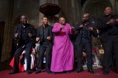Desmond Tutu celebrates at Templeton Prize ceremony in Cape Town 2013