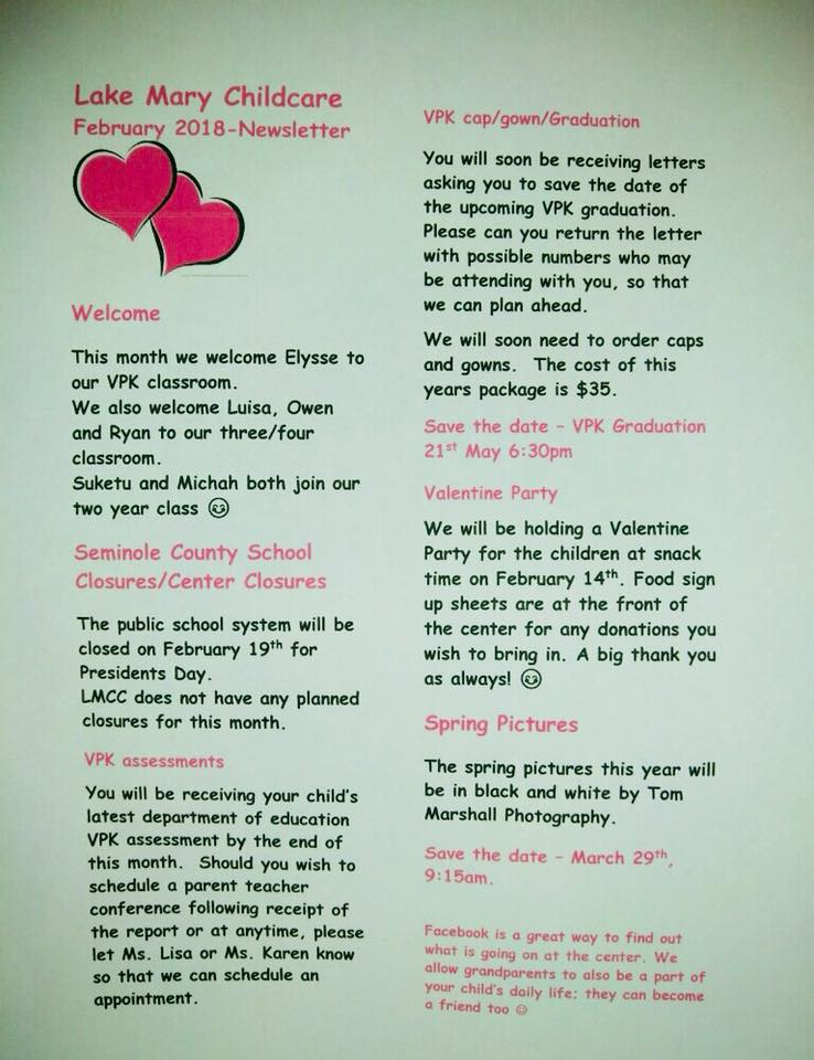 Lake Mary Childcare news letter for the VPK class