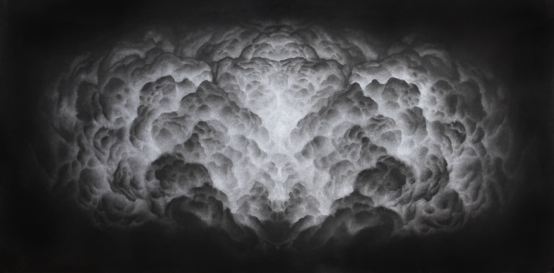 Simetrías celestes V. Carbón comprimido sobre papel. 120 x 60 cm. 2018,