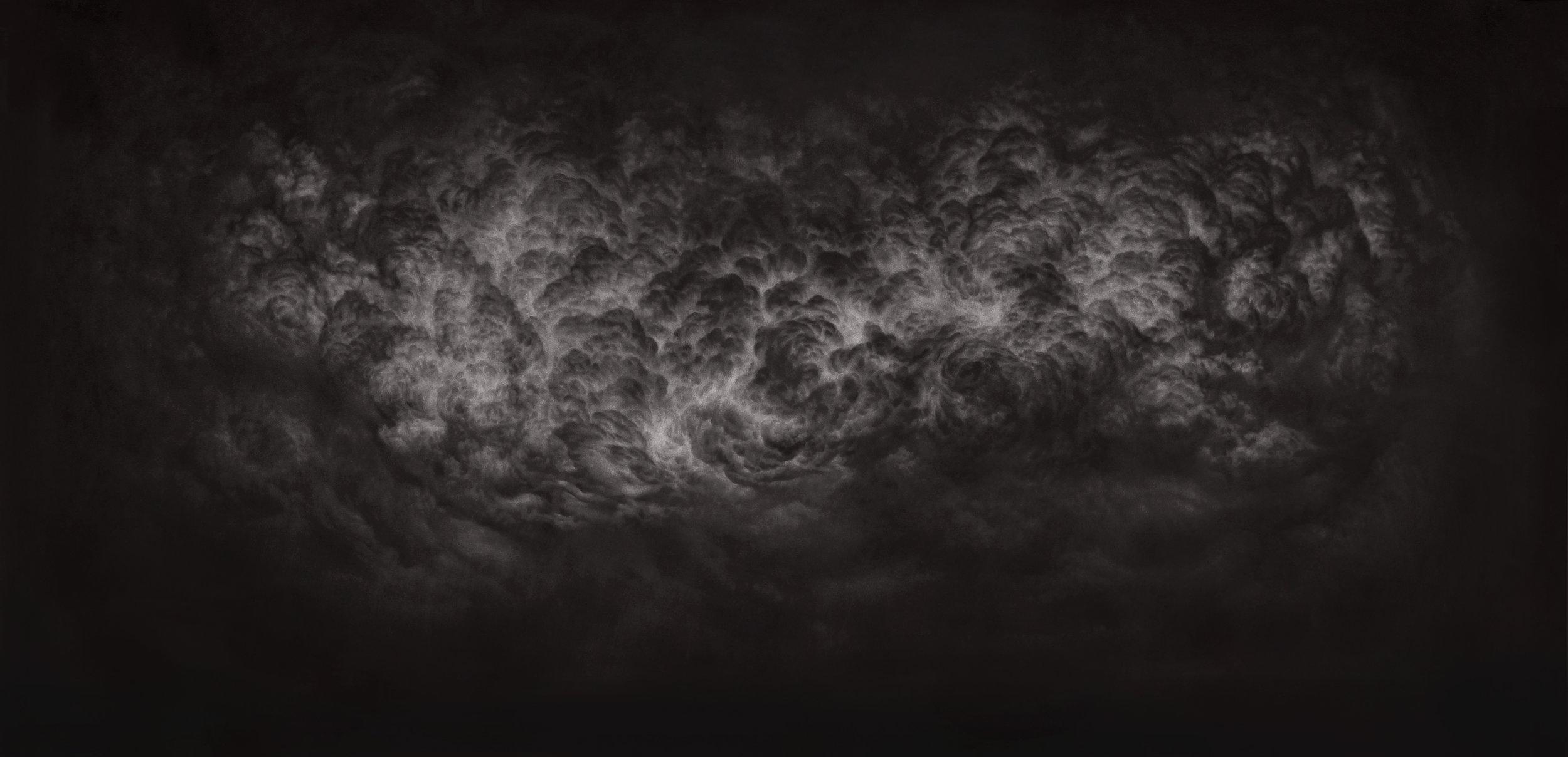 Dharmamega II. Carbón comprimido sobre papel. 200 x 100 cm. 2017.