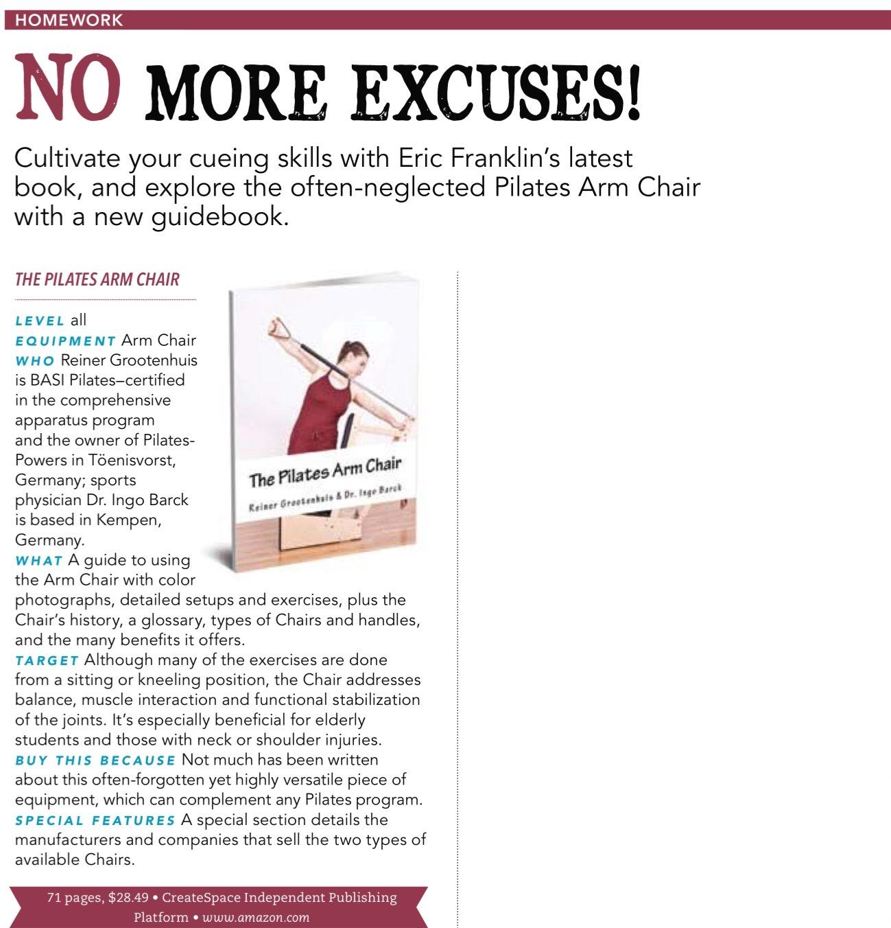 Bericht im Pilates Style Magazine in der Januar/Februar 2017 Ausgabe über Reiner Grootenhuis Pilates Arm Chair Trainingsmanual.