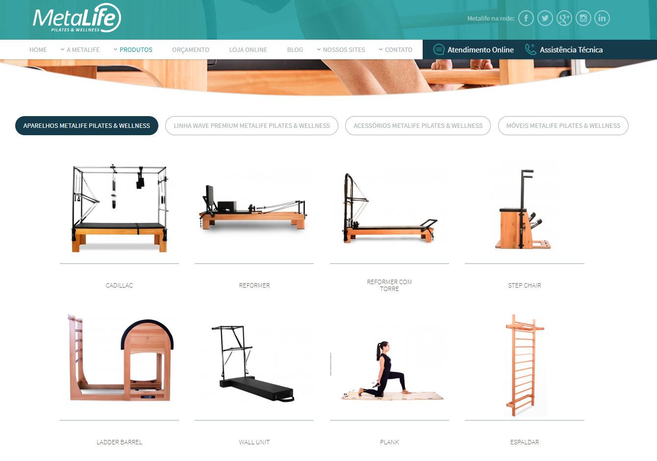 Hier ein Überblick über die Produktpalette von Metalife Pilates.