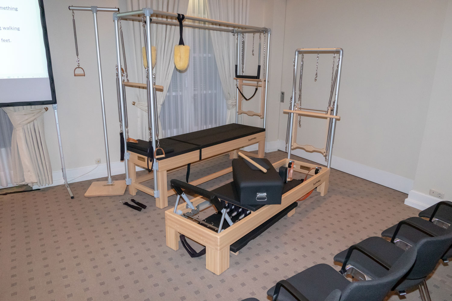 The studio suite with many Pilates devices.