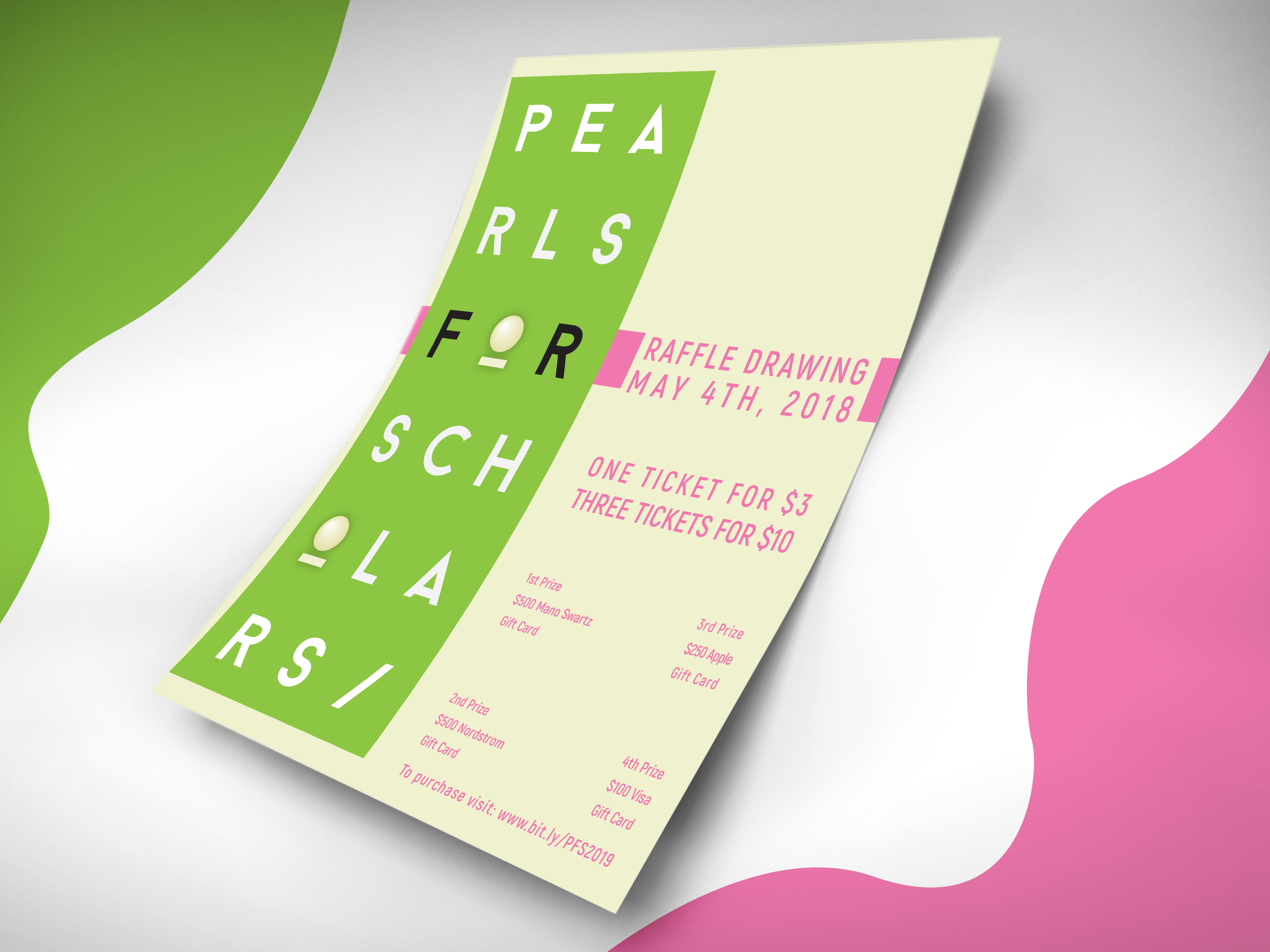Project: Flyer Redesign for Scholarship Fundraiser - Design Process: For this project, I focused on clean alignments and placements. I used the organizations colors and symbols (pink, green and pearls).