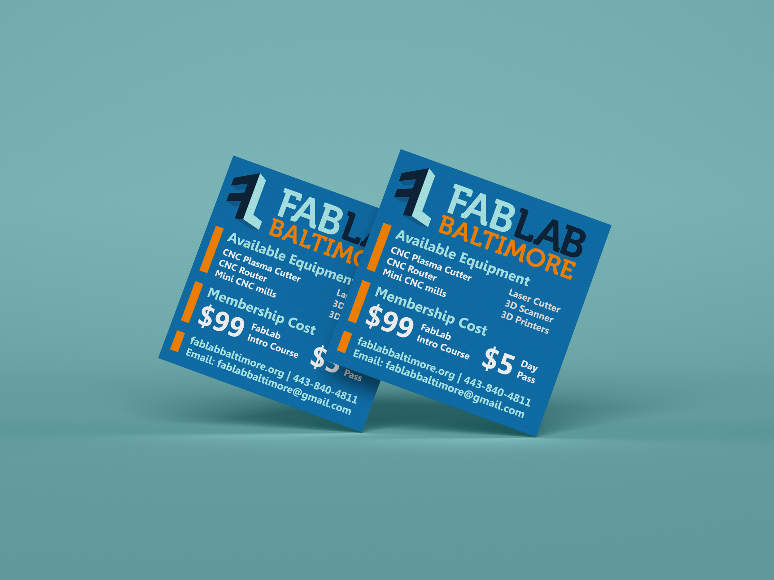 Client: Flyer Redo for the FabLab of Baltimore - Design Process: In the wake of a competing lab closing, the client needed to resign marketing materials to attract new members. I redesigned the flyer to better organize the available equipment and emphasis the membership cost.