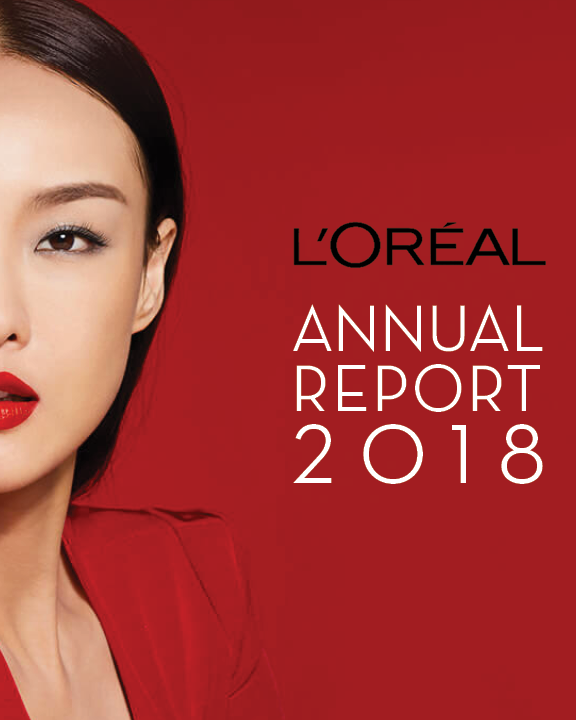 Project: Sample Corporate Report for L'Oreal - Design Process: I wanted to bring a more modern, editorial feel to the L'Oreal annual report to highlight their growth among millennials in the digital realm. I focused on minimal design with tight alignment, bold yet chic type choice, consistent colors and strong imagery. A part of a 12 page spread.