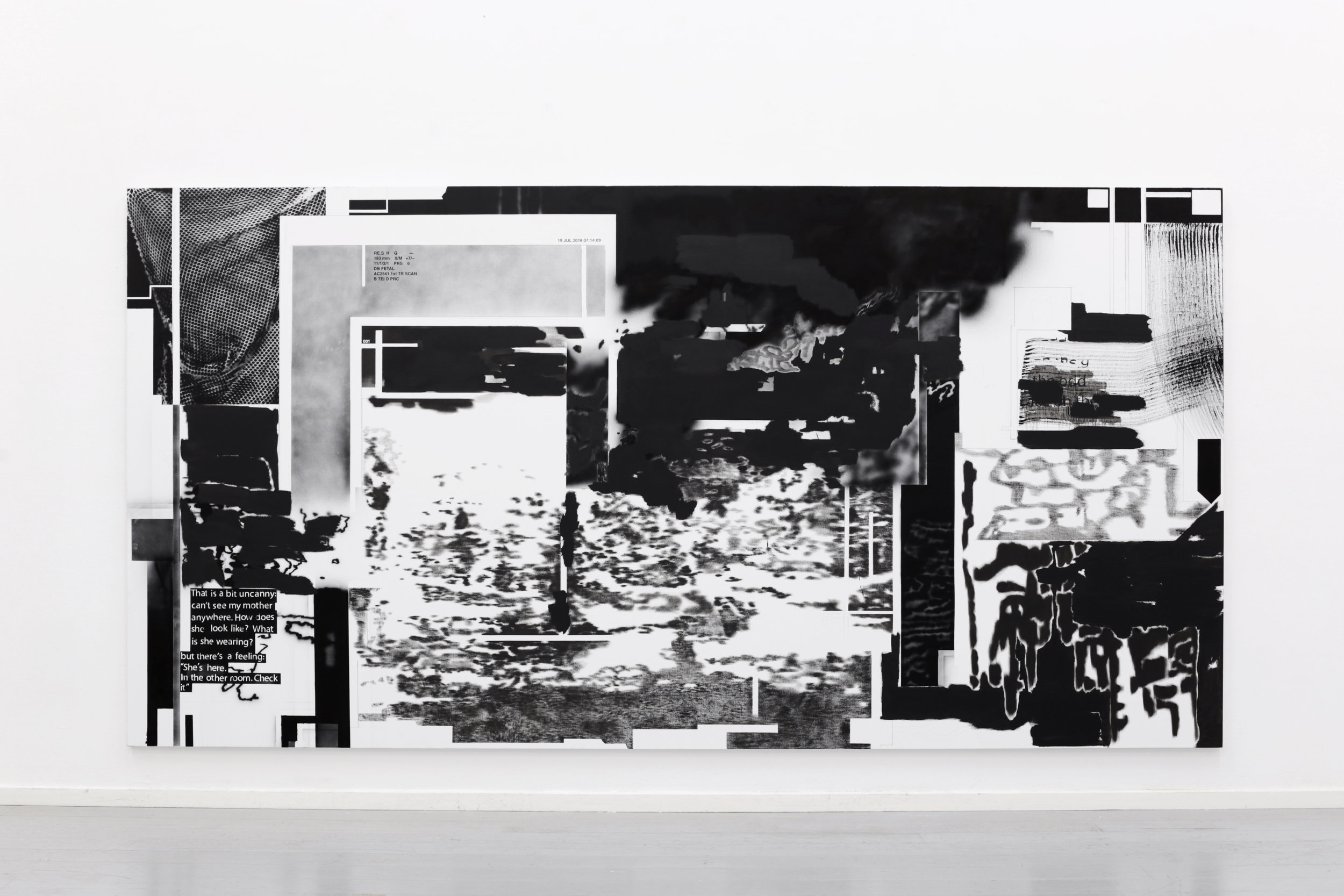 SCREEN 001, oil, acrylic and pencil on canvas, 204 x 400 cm, 2018