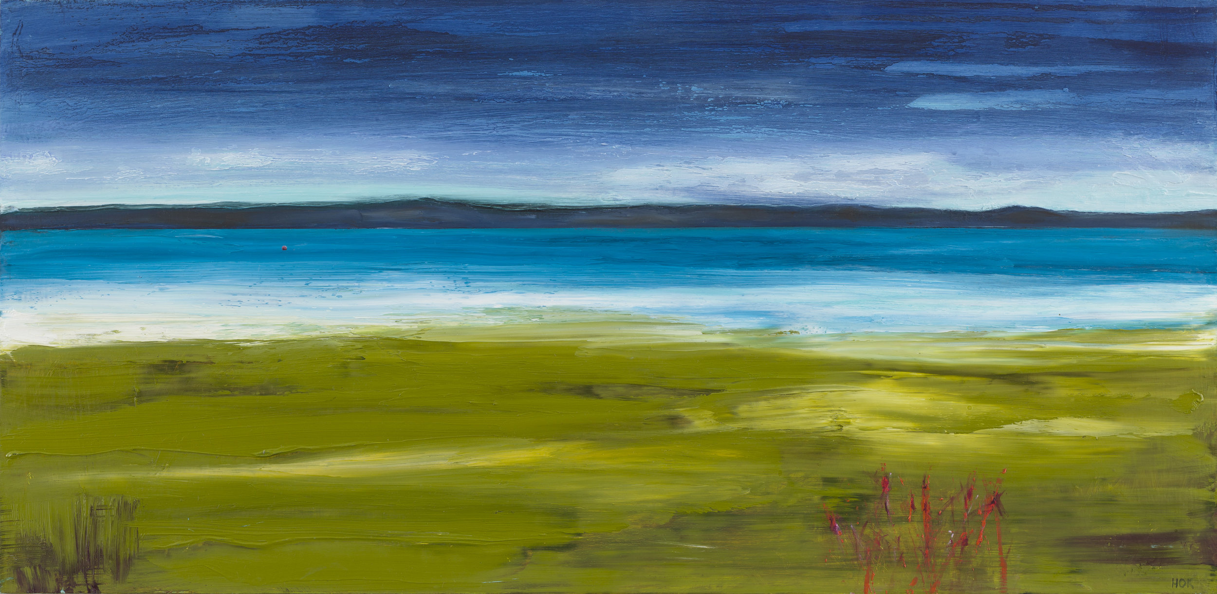 Mainland . 30 x 59cms.  Oil on board.