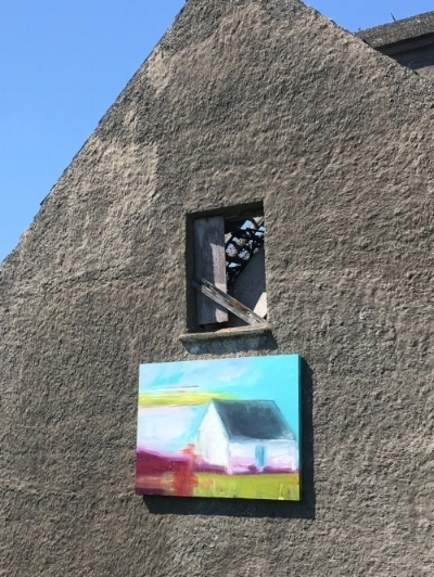 - 'Where the heart is - Long Island' installed on the gable end of the old Whooley cottage on Long Island.