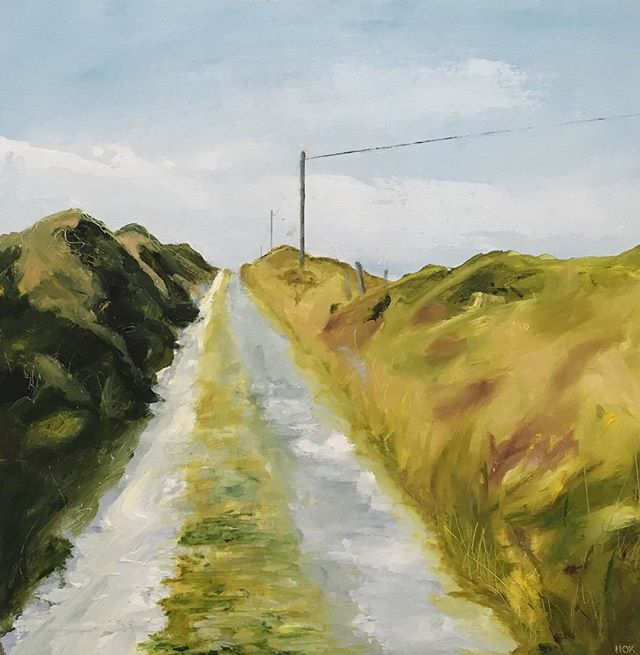 Just began this little piece - one view -up the hill towards the old school -of the little road on Long Island, a long low lying island off the coast of Schull in West Cork.  Love the grass in the middle of the road. . . . . . #wildanticway #irishart #artoninstagram #landscapeart #oilpainting #painting #westcork #helenokeeffe #westcorkartist #road #longislandcork