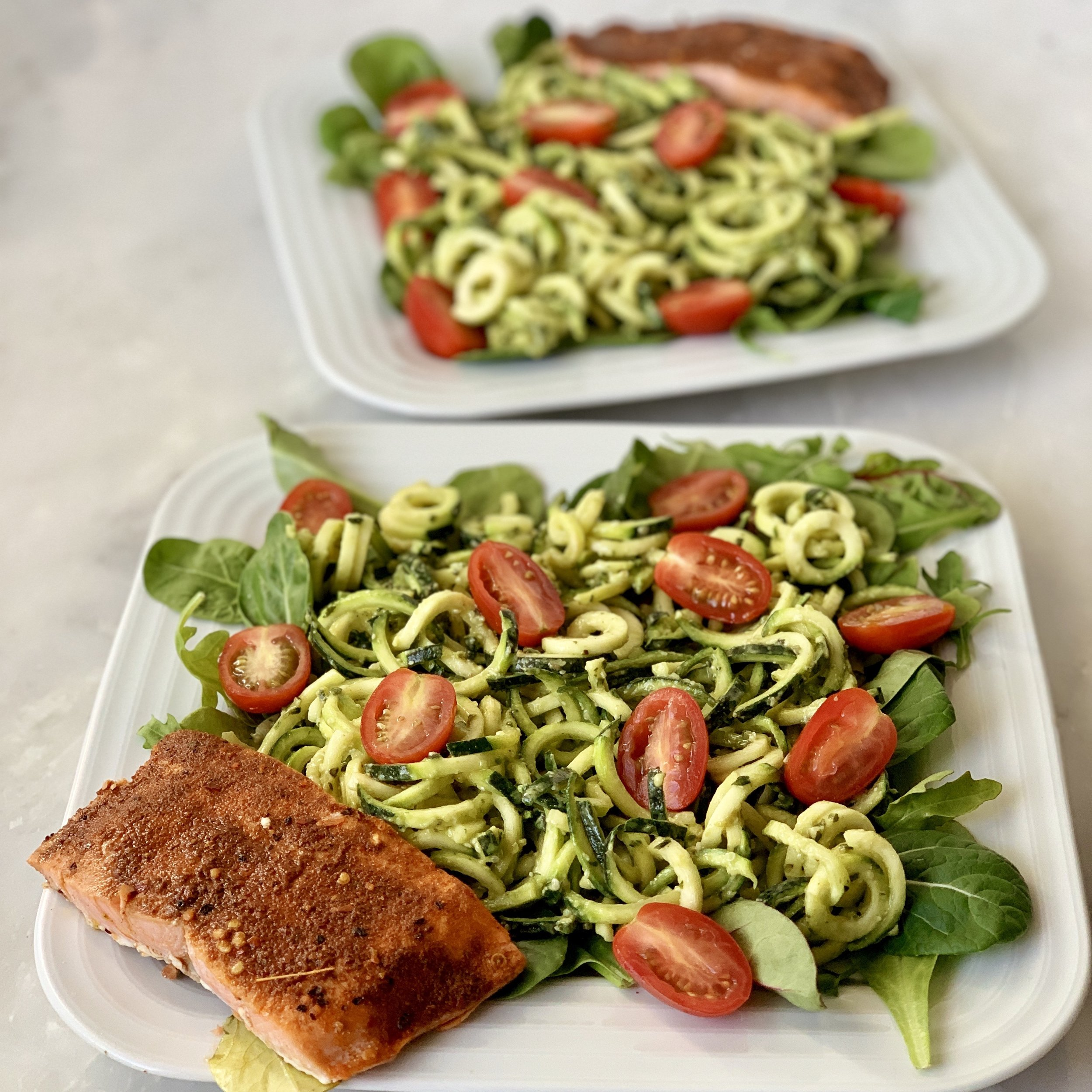 One of my favorite meals during pregnancy was salmon with zoodles and my avocado pesto (SO creamy and decadent!) Recipe for the pesto is on my website. This salmon is Sizzlefish of course! See link and discount below.