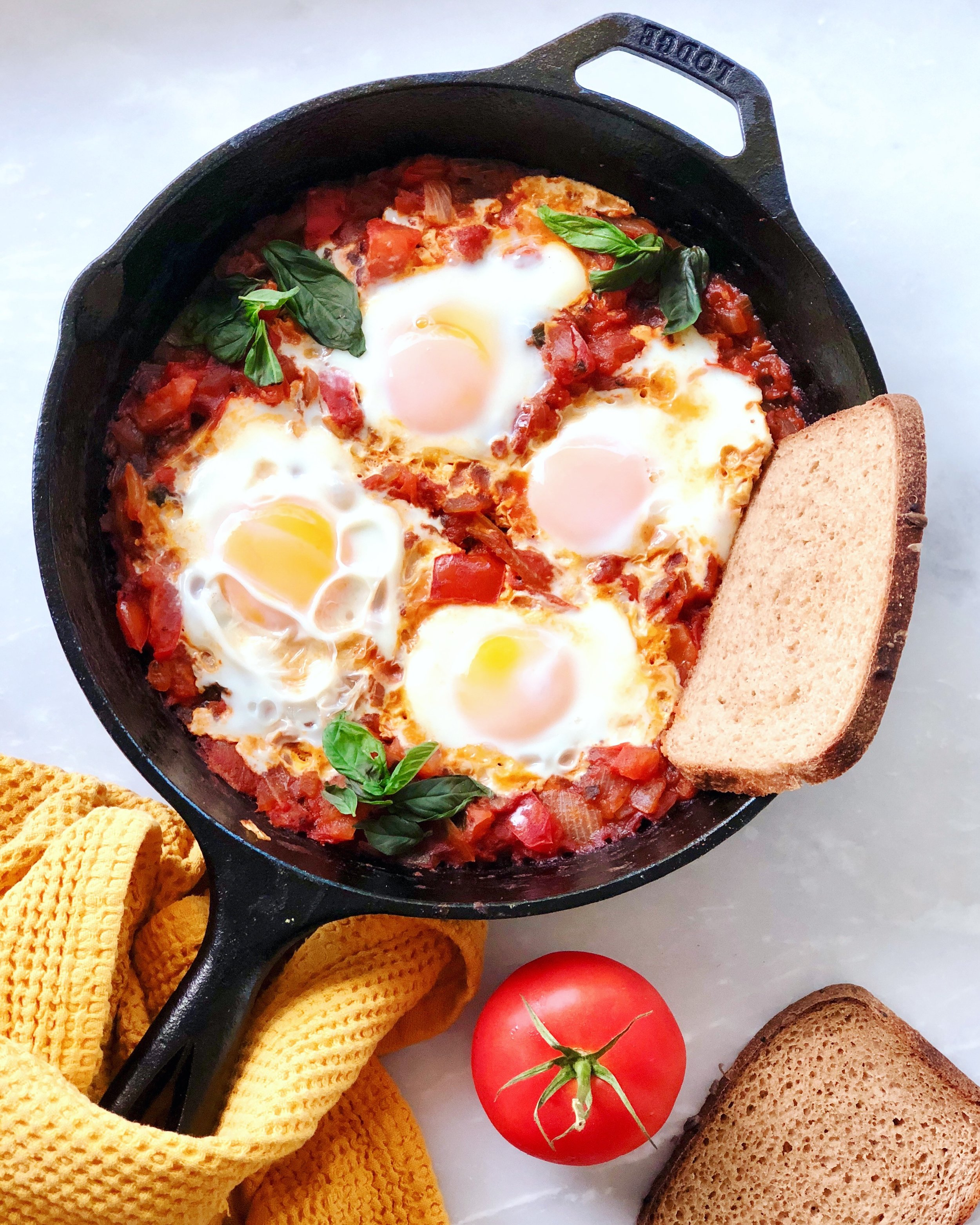 One of my favorite things to make with pasture-raised eggs is shakshuka!
