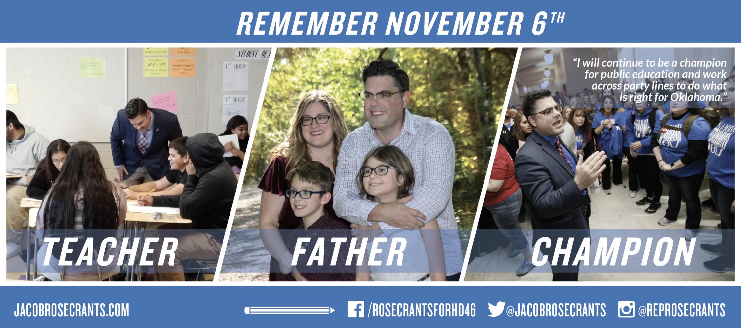 Jacob Rosecrants, State Representative HD 46 | Campaign Materials, Strategy & Messaging