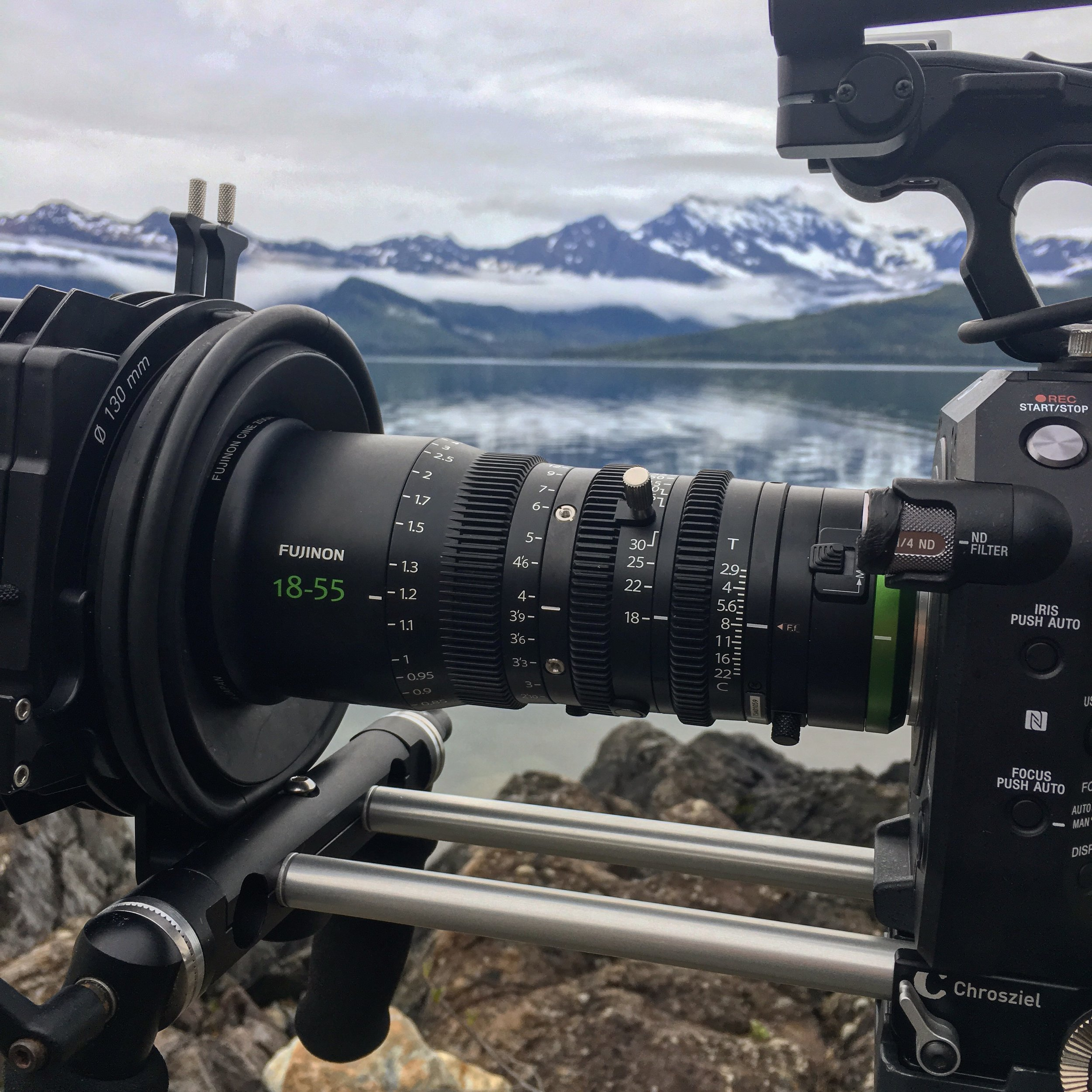 Mark's camera set up for much of the filming:Sony FS7 and Fujinon MK18-55mm, with Chrosziel plate, 15mm bars and mattebox, plus Ronford-Baker moose bars.