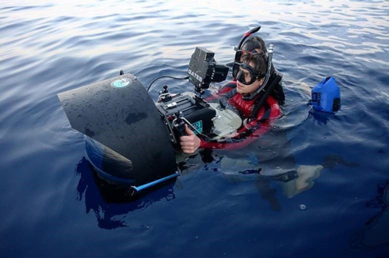 Mark using the 'MegaDome' whilst on location off the coast of Costa Rica filming for Blue Planet II