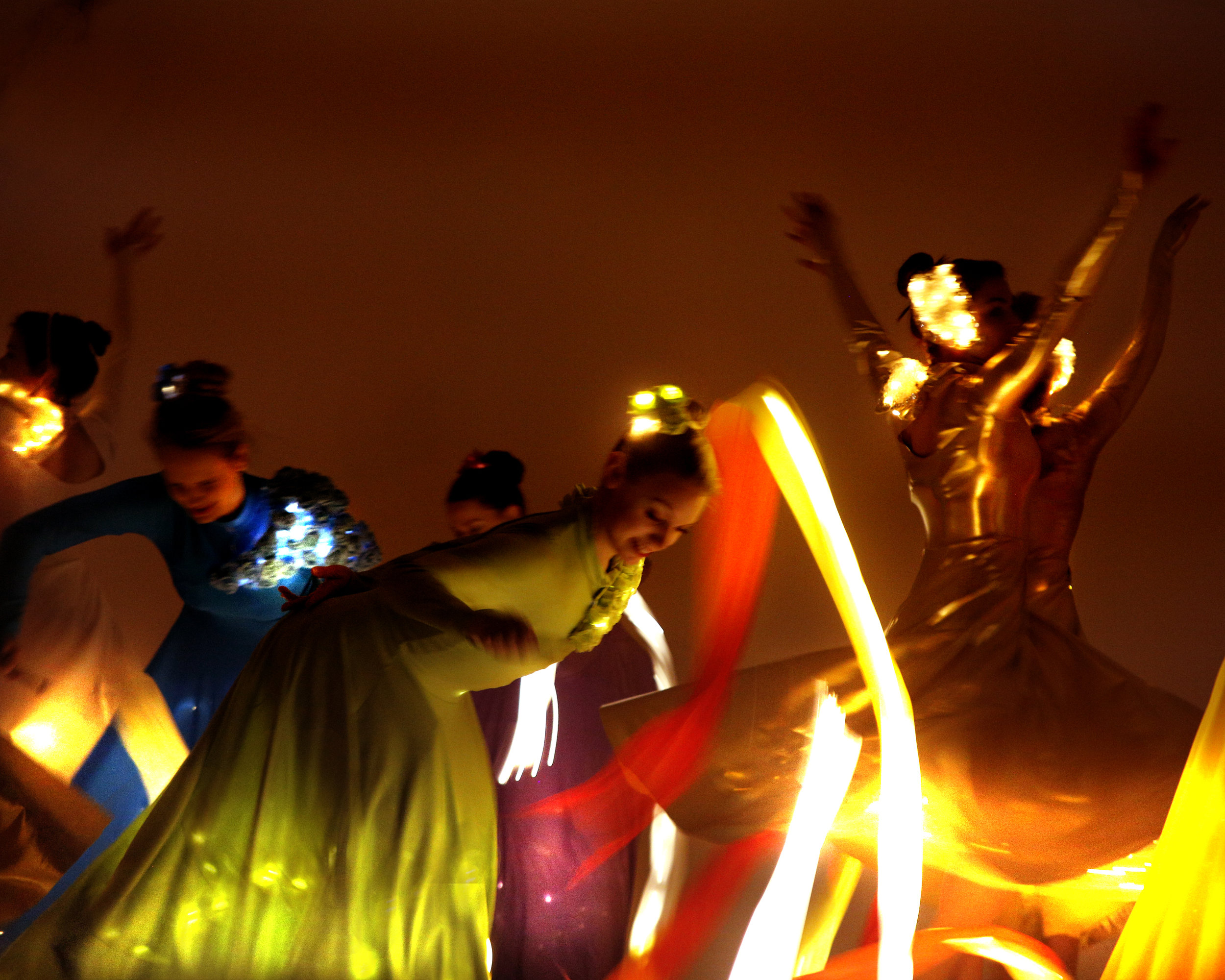 Light Emitting Dance in colour with illuminated ribbons 2, Divine Company.jpg