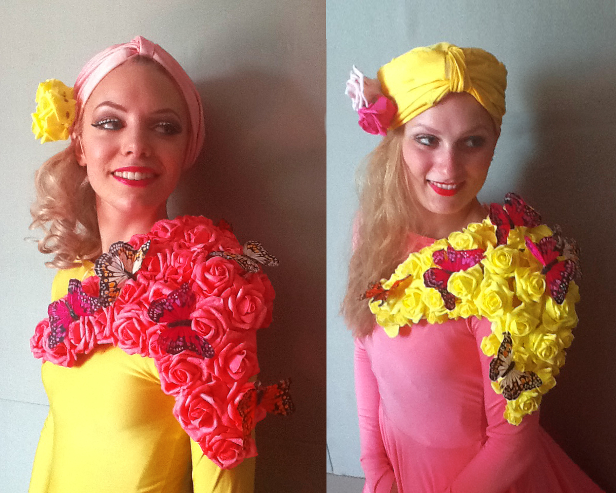 Costume detail, yellow and pink rose patches with butterflies, Divine Company.jpg