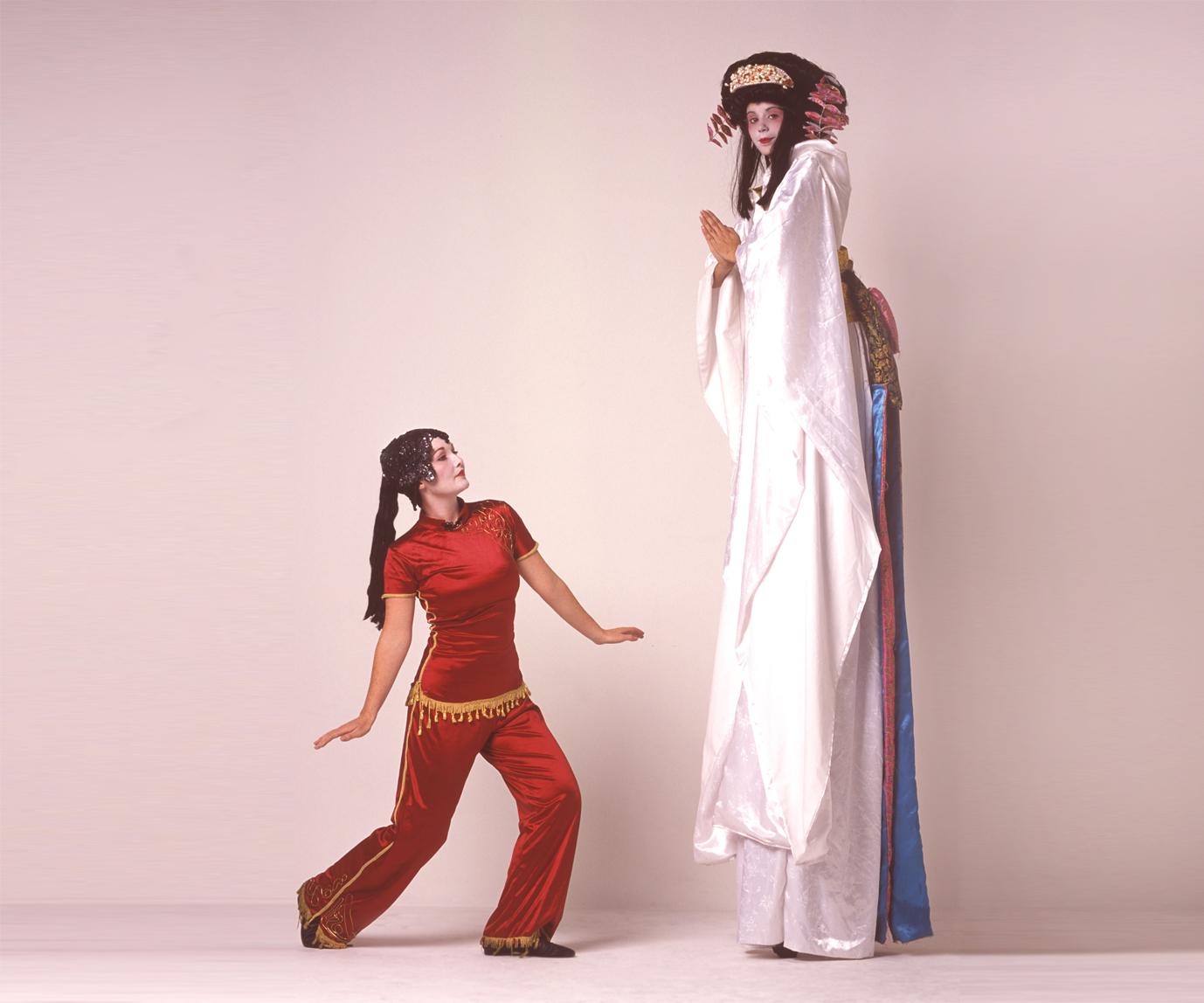 Geishas, stilt performance 2, Divine Company.jpg