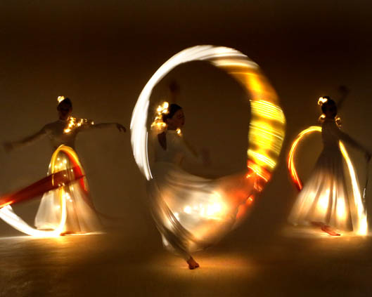 Light Emitting Dance in white with illuminated ribbons 2, Divine Company.jpg